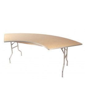 Premier Series Serpentine Wood Banquet Folding Table With Metal Edge