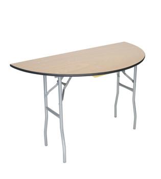 "Classic Series 60"" (5 ft) Half-Round Wood Folding Table, Vinyl Edging, Bolt-Thru Top, Locking Steel Frame"