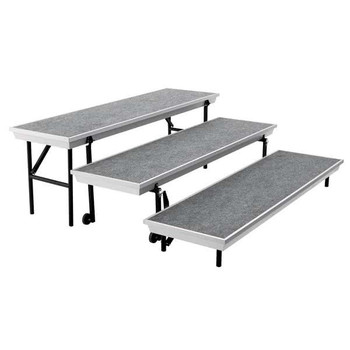 Gray Carpeted Straight Trans-Port Riser by National Public Seating