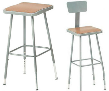 Adjustable Square Science Lab Stool With Hardboard Seat and Optional Backrest By National Public Seating