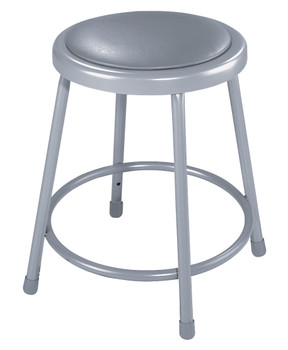 "18""High Grey Round Science Lab Stool with Padded Seat."