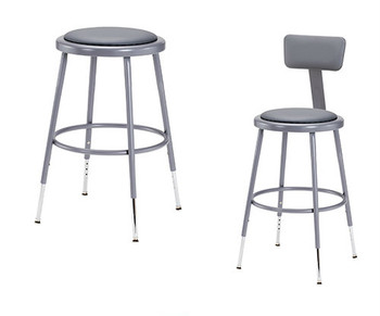 Gray Adjustable Round Science Lab Stool With Padded Seat and Optional Backrest By National Public Seating