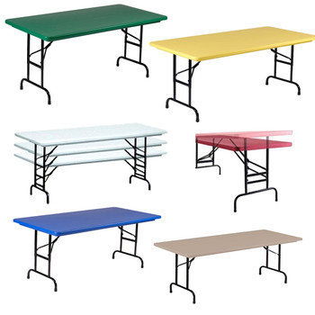 R Series by Correll Heavy Duty Blow Molded Folding Table with Adjustable Height-USA Made