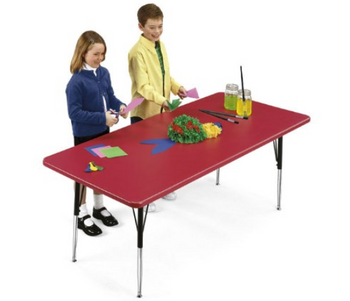 Correll Blow Molded Plastic Top Activity Table with Adjustable Height-USA Made (CL-AR-REC)