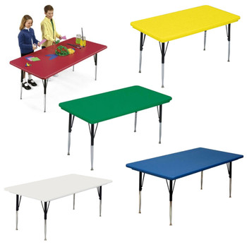 Correll Blow Molded Plastic Top Activity Table with Adjustable Height-USA Made