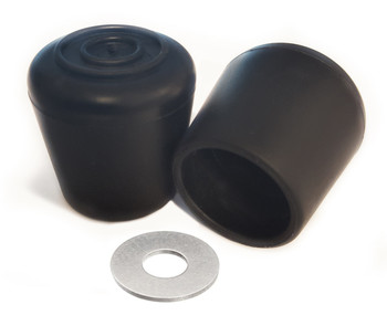 "100 pk. Non-Marring Rubber Folding Chair Foot Cap Glides with Steel Insert, Fits 7/8"" OD Tube"