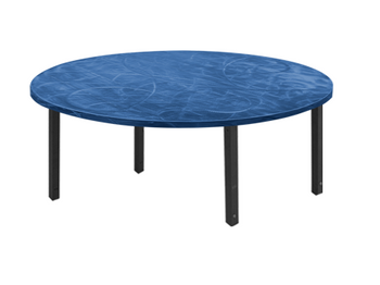Swirl Half-Round & Quarter-Round Aluminum Folding Table with Individual Folding Legs-Bahama Blue