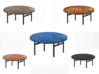 Swirl Round Aluminum Folding Table with H-Style Legs