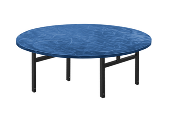 Swirl Round Aluminum Folding Table with H-Style Legs-Bahama Blue