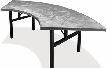 Swirl Serpentine Aluminum Folding Table with H-Style Leg