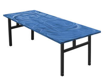 Swirl Banquet Aluminum Folding Table-Bahama Blue
