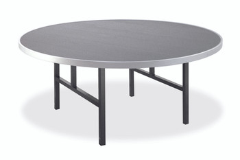Alulite Round Aluminum Folding Table with H-Style Legs -Matte Silver