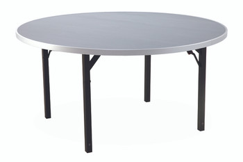 "Alulite 48"" Round Aluminum Folding Table with Individual Folding Legs-Anodized Silver"