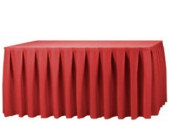 "30""H Solid Polyester Box Pleat Table Skirting (By the Foot) Includes Velcro Clips"
