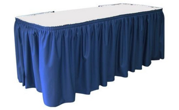 "30""H Spun Polyester Shirred Table Skirting (By the Foot) Includes Velcro Clips"