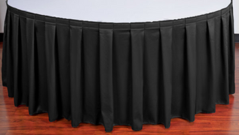 "30""H Spun Polyester Box Pleat Table Skirting (By the Foot) Includes Velcro Clips"