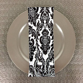 Dozen (12-pack) Alterio Black & White Damask Table Napkins