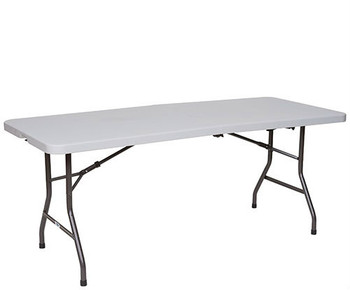 Premier Series Fold In Half Blow Molded Plastic Folding Table