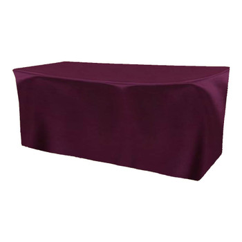 Solid Bengaline Textured Fitted Table Box Linen-Amethyst