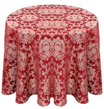 Beethoven Damask Tablecloth Linen-Crimson