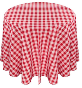 Checkered Print Spun Polyester Tablecloth Linen-Red