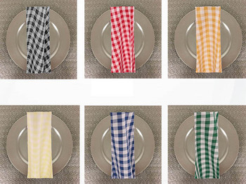 Dozen (12-pack) Checkered Print Spun Polyester Table Napkins