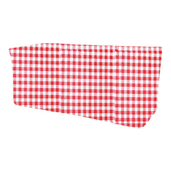 Checkered Print Spun Polyester Fitted Table Box Linen-Red