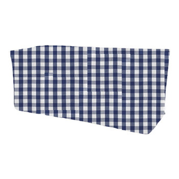 Checkered Print Spun Polyester Fitted Table Box Linen-Royal