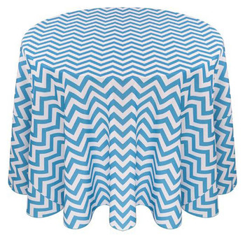 Chevron Polyester Tablecloth Linen-Turquoise