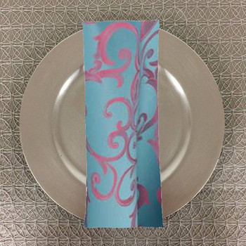 Dozen (12-pack) Chopin Damask Table Napkins-Turquoise Pink