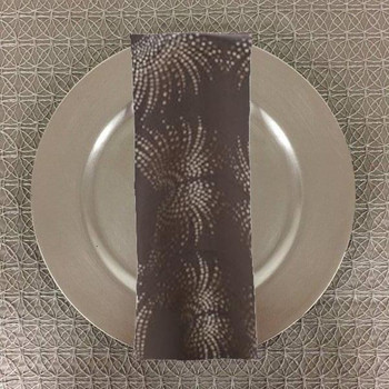 Dozen (12-pack) Dot Art Deco Jacquard Table Napkins-Steel
