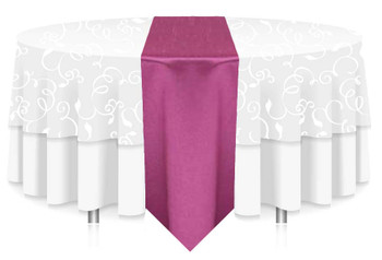 "12""W Faux Dupioni Polyester Based Table Runner Linen-Magenta"