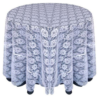 Sheer Lace Tablecloth Overlay-White