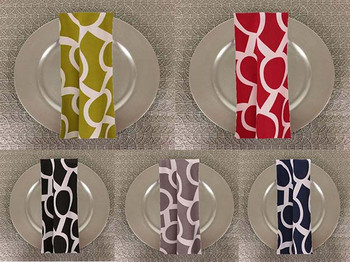 Dozen (12-pack) Liberty Key Geometric Print Polyester Table Napkins