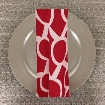 Dozen (12-pack) Liberty Key Geometric Print Polyester Table Napkins-Red