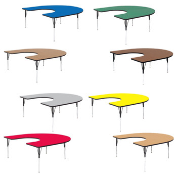 "Correll 60""W x 66""L Horseshoe High Pressure Laminate Activity Table with Adjustable Height"