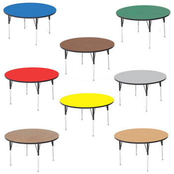 Round High Pressure Laminate Daycare Activity Table with Adjustable Height Legs By Correll
