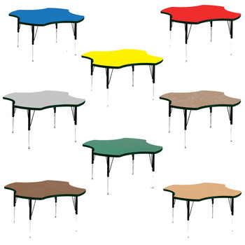 "Correll 48"" (4 ft) Clover High Pressure Laminate Activity Table with Adjustable Height-USA Made"