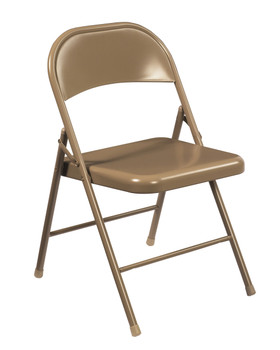 Commercialine Steel Folding Chair By National Public Seating-Beige