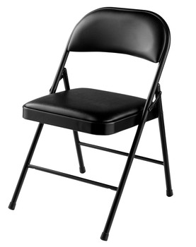 Commercialine Vinyl Padded Folding Chair By National Public Seating-Black