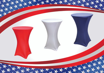 "3-Piece Patriotic Spandex Cocktail Table Linen Set In Red, White, & Blue for 30"" Round Top in 42""Height"