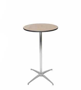 "Classic Series 24"" Round Plywood Cocktail Table, Vinyl Edging, 30""H & 42""H Poles Included"