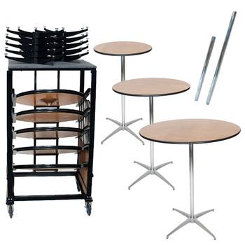 "10 Classic Series Round Wood Cocktail Table Bundle-10 Tables, 30"" & 42"" Height Poles, and Transport Cart"