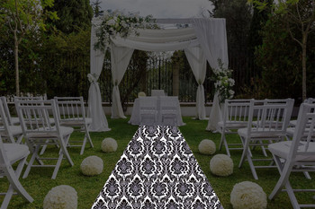 "30""W Alterio Black & White Damask  Aisle Runner"