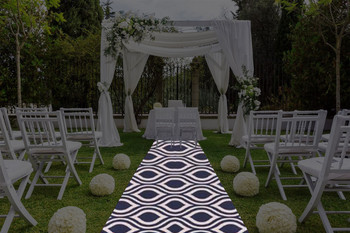 """30""""W My Party Geometric Print Polyester Aisle Runner-Navy"""