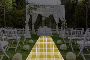 "30""W Nantucket Plaid Geometric Print Polyester Aisle Runner"