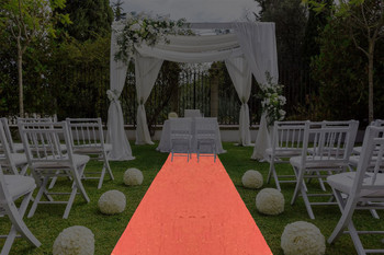 "30""W Shimmer Crush Polyester Aisle Runner-Orange Gold"