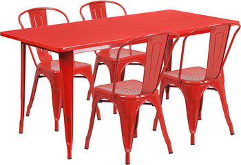"Indoor/Outdoor Cafe Metal 5 Piece set- 31.5"" x 63"" Rectangle Table set with 4 Stack Chairs-Red"