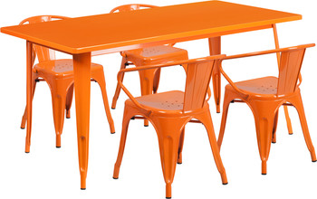 "Indoor/Outdoor Cafe Metal 5 Piece set- 31.5"" x 63"" Rectangle Table with 4 Arm Chairs-Orange"