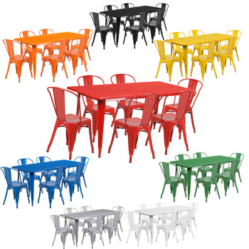"Indoor/Outdoor Cafe Metal 7 Piece set- 31.5"" x 63"" Rectangle Table with 6 Stack Chairs"
